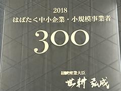 2018はばたく中小企業・小規模事業者300社受賞!!