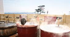 露天風呂からも駿河湾を一望。